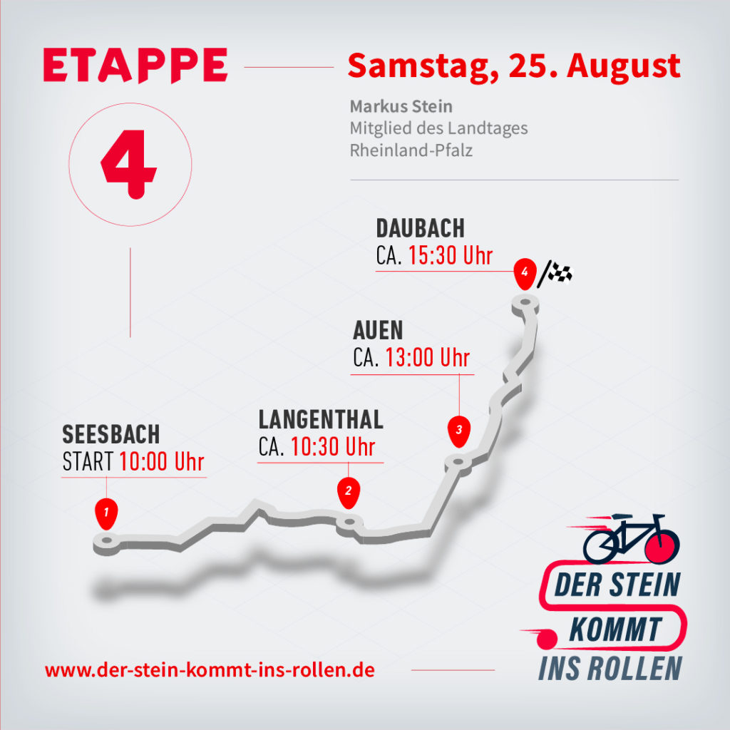 Etappenplan – Etappe 4 – Seesbach: 10:00 Uhr, Langenthal: 10:30 Uhr, Auen: 13:00 Uhr, Daubach: 15:30 Uhr
